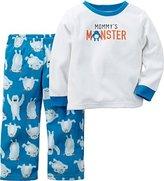 Carter's Little Boys 2-Piece Fleece PJs Mommy's Monster Blue