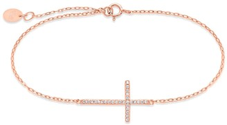 Sterling Forever 14K Rose Gold Plated Sterling Silver Sideways CZ Cross Bracelet