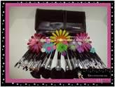 MASH 34pc Studio Pro Makeup Make Up Cosmetic Brush Set Kit w/ Leather Case - For Eye Shadow, Blush, Concealer, Etc.