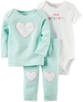Carter's Baby Girls' 3-Piece Hello Cutie Bodysuit, Top & Pants Set