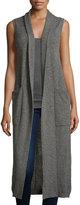 Neiman Marcus Cashmere Pointelle Duster Vest, Gray