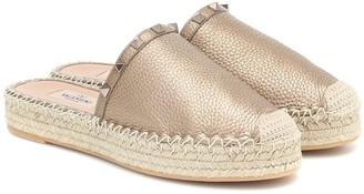 Valentino Rockstud leather espadrille mules
