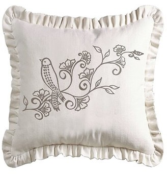 Ophelia & Co. Makena Linen Weave Ruffled Floral Throw Pillow