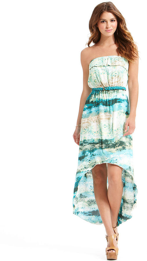 Trixxi Juniors Dress, Strapless Printed High-Low