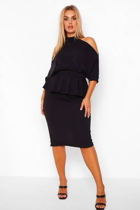 boohoo Plus Open Shoulder Peplum Midi Dress
