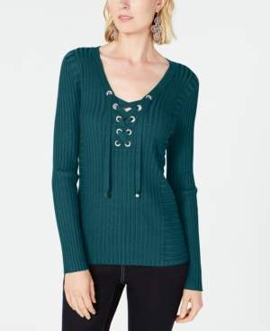 INC International Concepts Inc Petite Lace-Up Ribbed-Knit Sweater, Created for Macy's