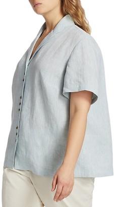 Lafayette 148 New York, Plus Size Bourne Button-Up Linen Top