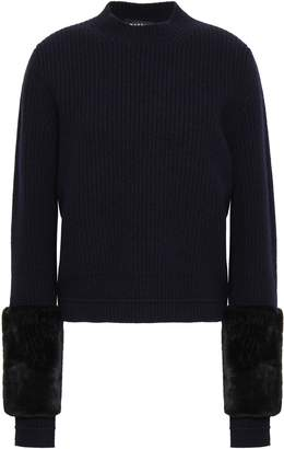 Markus Lupfer Juliette Faux Fur-trimmed Ribbed Wool Sweater