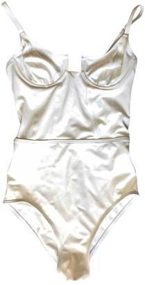 Solid & Striped White Lycra Swimwear for Women