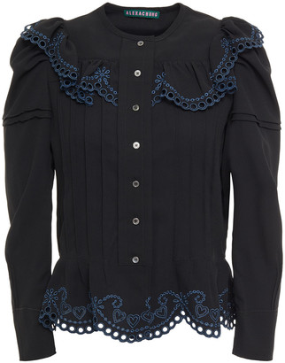 ALEXACHUNG Broderie Anglaise-trimmed Crepe Shirt