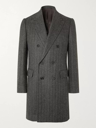Kingsman Double-Breasted Herringbone Alpaca Coat - Men - Gray