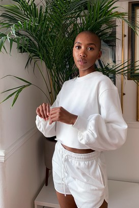 Topshop White Cropped Sweatshirt