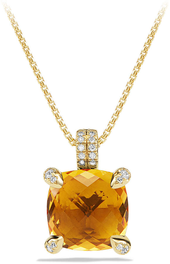 David Yurman Châtelaine 11mm Faceted Citrine & Diamond Pendant Necklace