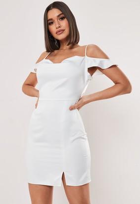 Missguided White Cold Shoulder Satin Cowl Mini Dress
