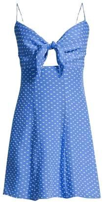 Alice + Olivia Roe Tie-Front Clip-Dot Mini Dress