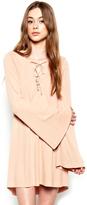 Michael Lauren Jimi Lace Up Bell Sleeve Dress in Fawn