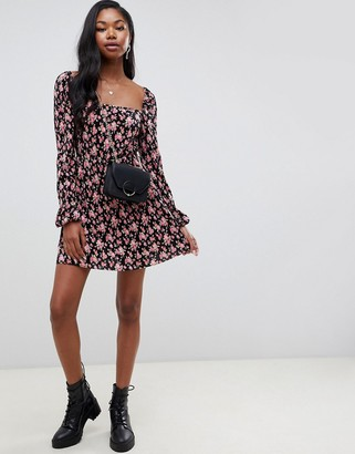 ASOS DESIGN mini plisse skater dress with square neck in floral print