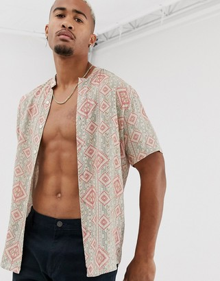 Asos Design DESIGN relaxed fit aztec print shirt with grandad collar-Pink