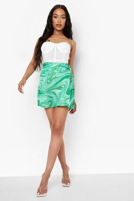 boohoo Marble Swirl Print Satin Slip Mini Skirt