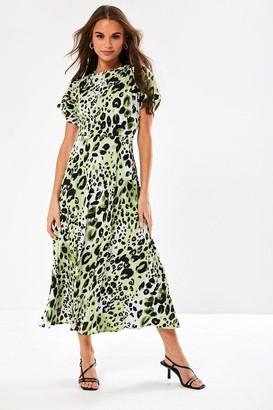 Iclothing Sasha Animal Print Dress in Green
