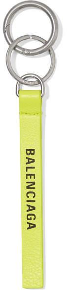 Balenciaga Neon Printed Leather Keychain - Green