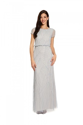 Adrianna Papell Blouson Beaded Dress In Blue Heather/Silver