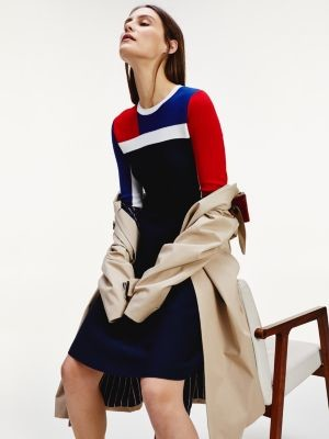 Tommy Hilfiger Colour-Blocked Fit and Flare Dress