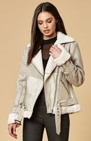 MinkPink Major Tom Faux Suede Moto Jacket
