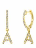 Ron Hami 14K Yellow Gold Diamond Initial Huggie Earrings - 0.13-0.19 ctw