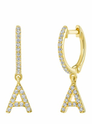 Ron Hami 14K Yellow Gold Diamond Initial Huggie Earrings - 0.13-0.19 ctw