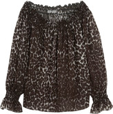 Norma Kamali Off-the-shoulder leopard-print chiffon top