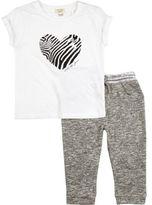 River Island Mini girls white zebra t-shirt joggers outfit
