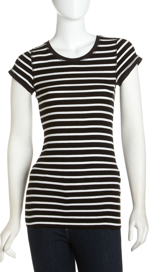 BCBGMAXAZRIA Voty Striped Ribbed Tee, Black