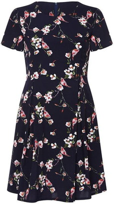 Yumi Curves Bird And Floral Printed Skater Dress