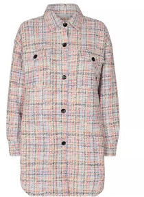 Nümph Nucela White, Pink, Blue and Orange Tweed Overshirt - XS | cotton | pink - Pink/Pink