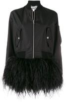 Moschino feather trim bomber jacket