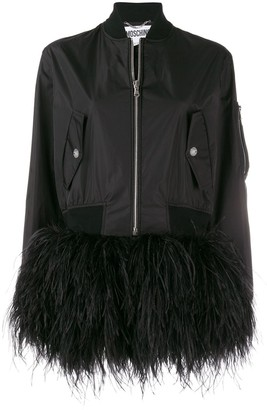 Moschino Feather Trim Bomber Jacket