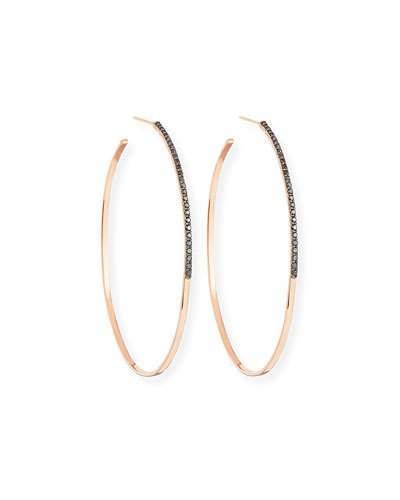 Lana Reckless Vol. 2 Large Femme Hoop Earrings with Black Diamonds in 14K Rose Gold