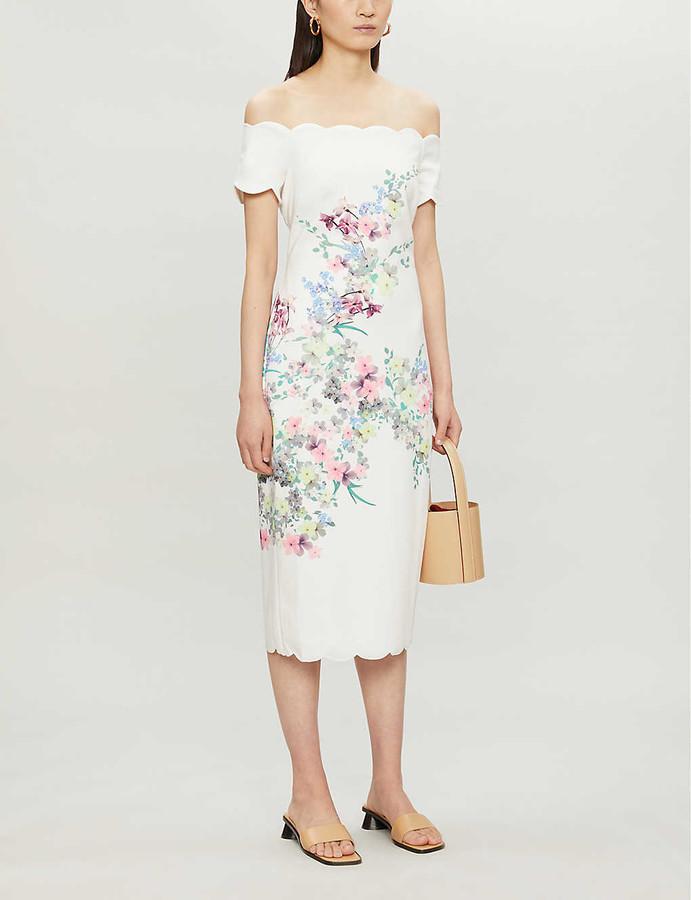 Ted Baker Pergola off-the-shoulder floral-print stretch-crepe midi dress