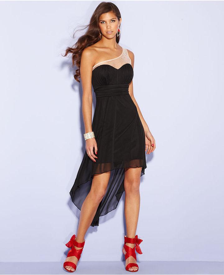 Trixxi Juniors Dress, One-Shoulder Empire-Waist High-Low