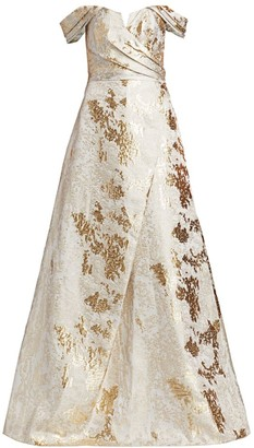 Rene Ruiz Collection Brocade Off-The-Shoulder Gown