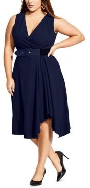 City Chic Trendy Plus Size V-Neck Faux-Wrap Dress