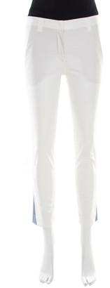 Brunello Cucinelli White Cotton Stretch Tapered Formal Trousers S