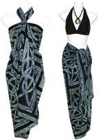 1WorldSarong 1 World Sarongs Womens Premium Celtic Circles Cover-Up Fringeless Sarong in Slate Gray