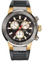Salvatore Ferragamo 44mm F-80 Men's Chronograph Watch w/ Rubber Strap, Black