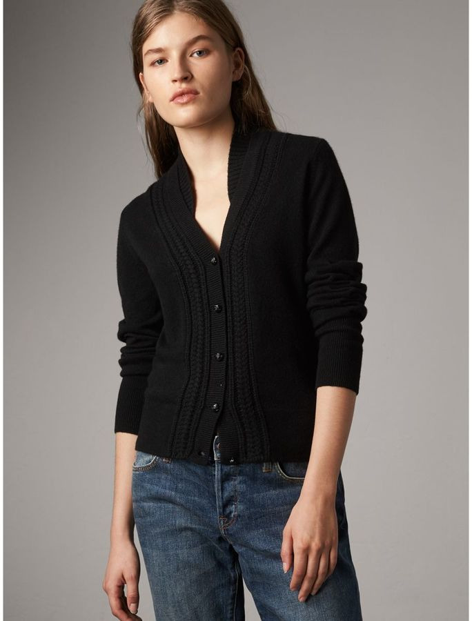 Burberry Cable Knit Detail Cashmere Cardigan