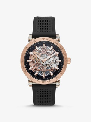 Michael Kors Oversized Greer Rose Gold-Tone and Perforated Silicone Watch