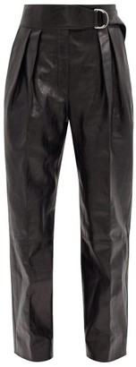Jil Sander Napoleon Pleated Leather Wide-leg Trousers - Black