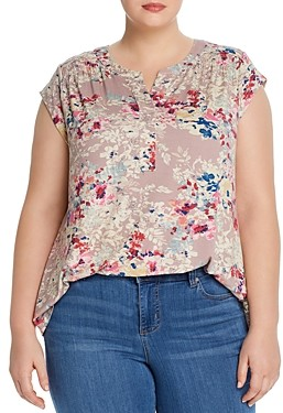 Daniel Rainn Plus Printed Cap-Sleeve Top