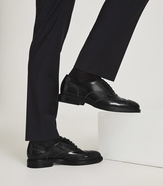 Reiss Linn - Studded Leather Brogues in Black